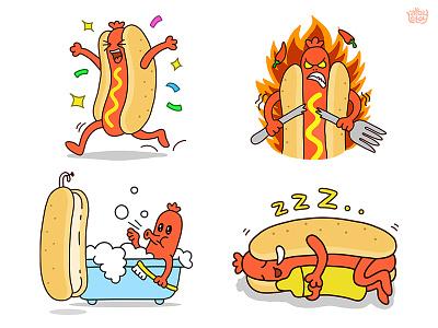 Hot Dog illustration funny hot dog stickers contest line cartoon angry sleep happy bathroom food