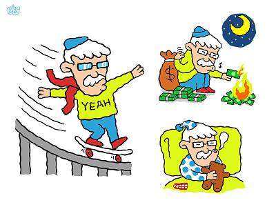 Mr Bold illustration stickers contest line cartoon old skate cool money sleep fun