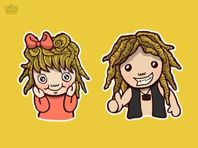 Gimbal illustration funny stickers cartoon children kids boy cute dreadlock chubby character