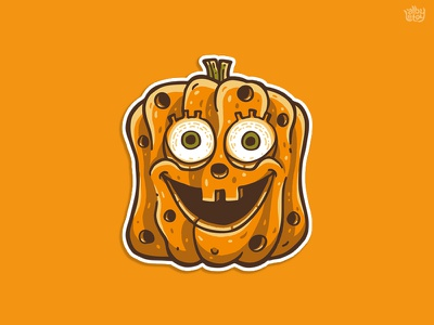 Pumpkinbob pop culture creepy cute orange pumpkin sticker halloween spongebob illustration