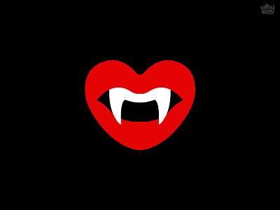 love bite symmetry design vector teeth fang kiss dracula love lips illustration simple logo