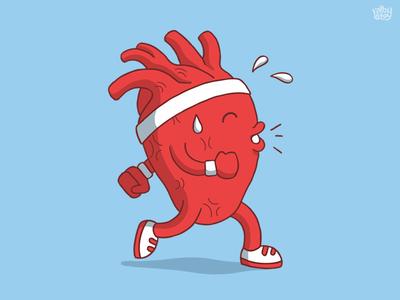 Healthy Heart Running cute sport cartoon run pump running t-shirt tee heart illustration
