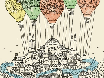 Dream Land editorial travel watercolor architecture baloon drawing building city journal art line illustration