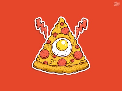 Pizzaminati fast food thanksgiving egg illuminati yummy sticker pizza food illustration