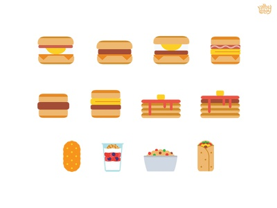 All Day Breakfast  alldaybreakfast mcdonalds hash browns oatmeal yogurt burrito egg muffin burger food icon illustration
