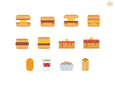 All Day Breakfast  alldaybreakfast mcdonalds hash browns oatmeal yogurt burrito egg muffin burger food icon illustration