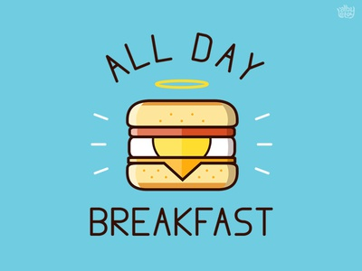 All Day Breakfast  (Angel) mcdonalds t-shirt vector mcmuffin egg muffin burger food icon illustration