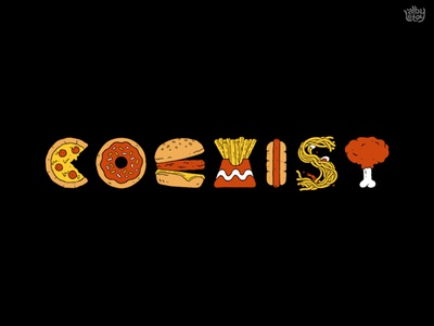 Yummy Coexist fried chicken noodle french fries hotdog burger donuts icon fast food thanksgiving pizza food illustration