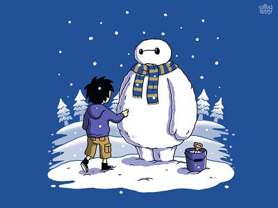 Big Snowman t-shirt big hero snow snowman holiday illustration