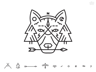 Natural Life line shape icon symbol geometry tent nature wolf minimal simple t-shirt illustration