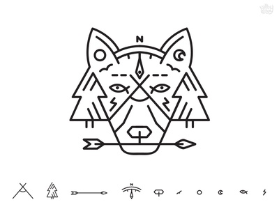 Natural Life line shape icon symbol geometry tent nature wolf minimal simple t-shirt illustration