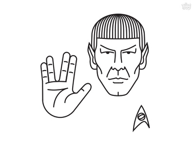 LLAP vector simple minimalism classic movie line face hand mr spock spock star trek illustration