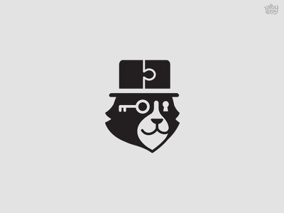 Mr Mistery icon bear key animal puzzle mistery cat illustration logo