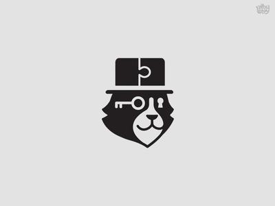 Mr Mistery icon bear key animal puzzle mistery cat illustration logo