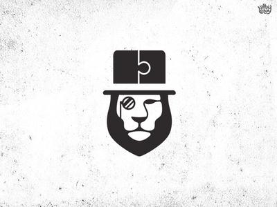 Mr. Lion mistery icon animal puzzle lion logo illustration