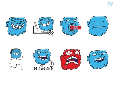 T Rollin lol pack meme face troll set character app stickers illustration emoticons emoji