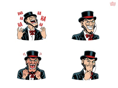 Bridgely pack evil comic villain face set character app stickers illustration emoticons emoji