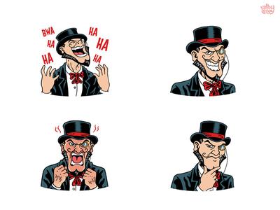 Bridgely pack evil comic villain face set character app stickers illustration emoticons emoji