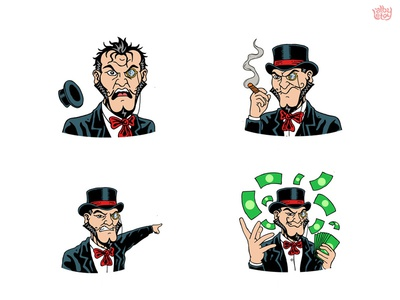 Bridgely 02  pack villain stickers set illustration face evil emoticons emoji comi character app