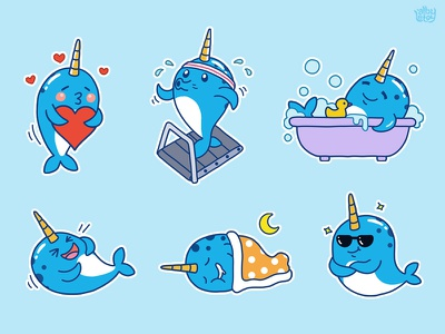Narwhal 02 - Sticker Set app character emoji emoticons illustration set stickers narwhal nextkeyboard cute unicorn pack