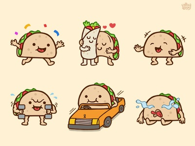 Taco 02 - Sticker Set messenger pack cute nextkeyboard stickers set illustration emoticons emoji character app burrito