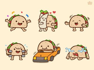 Taco 02 - Sticker Set messenger pack cute nextkeyboard stickers set illustration emoticons emoji character app burrito