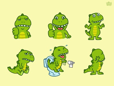 T-Rex 01 - Sticker Set dinosaurs t-rex app character emoji emoticons illustration set stickers nextkeyboard cute pack