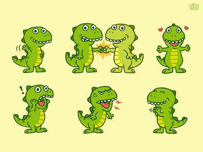 T-Rex 02 - Sticker Set pack cute nextkeyboard stickers set illustration emoticons emoji character app t-rex dinosaurs