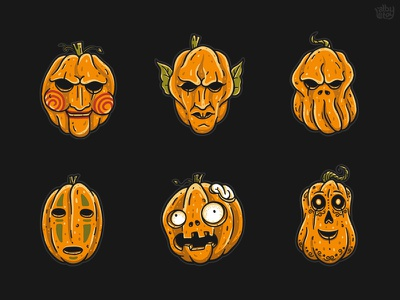 Famous Pumpkins 2  character sticker scream manolo zombie spirit away jigsaw nosferatu cthulhu monster pumpkin horror