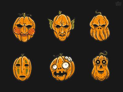 Famous Pumpkins 2  character sticker scream manolo zombie spirit away jigsaw nosferatu cthulhu monster pumpkin horror