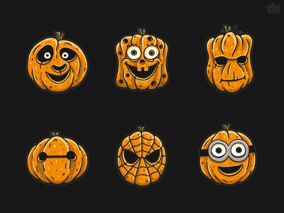 Famous Pumpkins 3 horror pumpkin monster minion spiderman groot po sponge bob sticker character