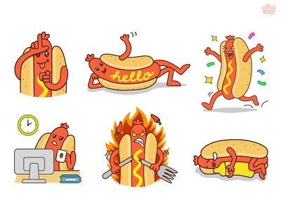 Hot Dog 01 - Sticker Set hot dog app character emoji emoticons illustration set stickers nextkeyboard funny pack messenger