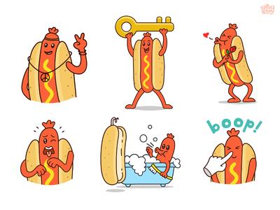 Hot Dog 02 - Sticker Set messenger pack funny nextkeyboard stickers set illustration emoticons emoji character app hot dog