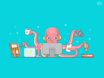 Multi Talent Octopus fish coffee camera cartoon web work illustration workplace sushi sea freelance octopus