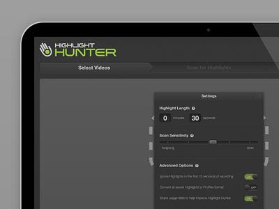 Highlight Hunter Settings video gopro wizard switches settings app mac osx desktop