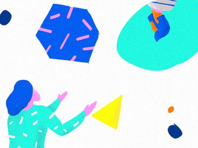 Brush geometic color doodle brush illustration