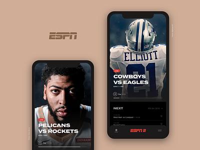 ESPN uidesign app sports video streaming player espn