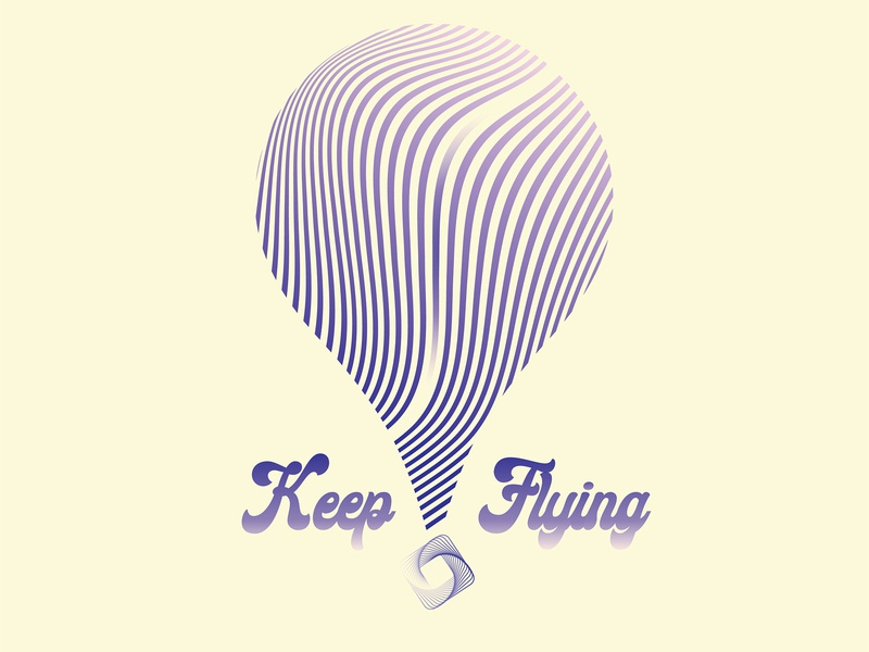 Keep Flying hot air ballon flying balloon vector logo design illustration