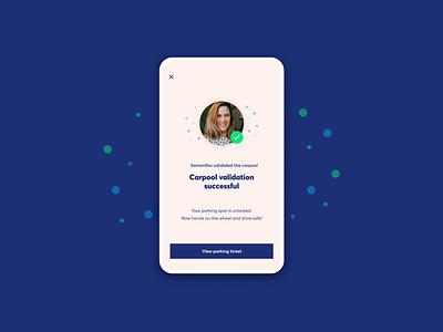 Confirmation Screen [Carpool App] carpool ux feedback uidesign app design ux design ui