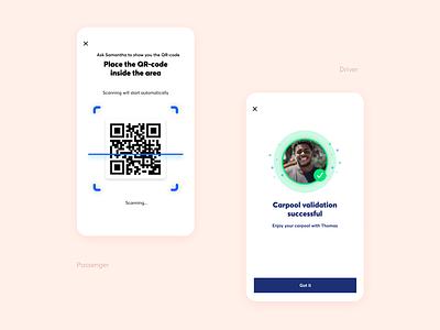 QR Code [Carpool App] carpooling carpool uidesign app design ux ux design ui
