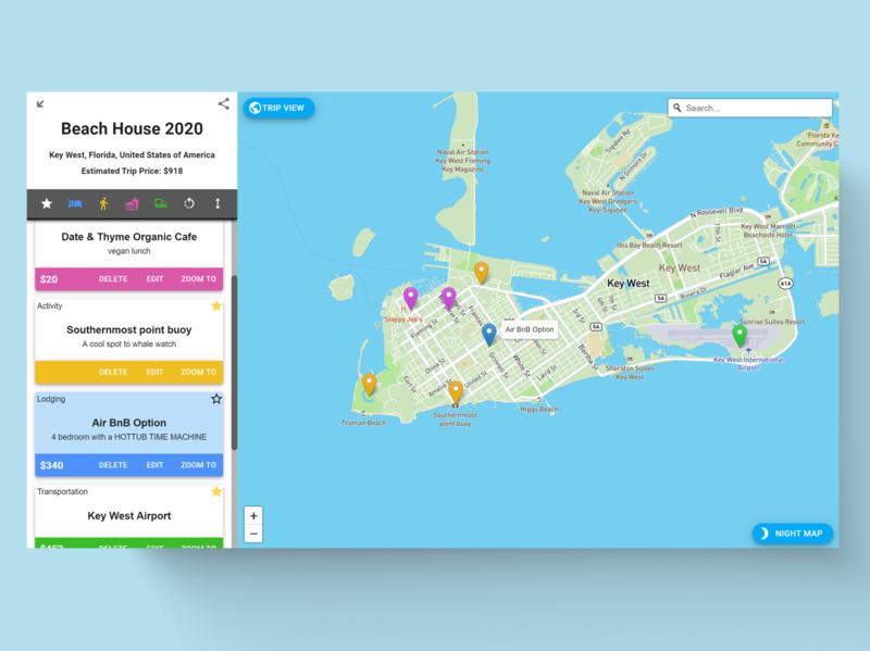 Trip Planning App web ui design