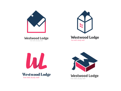 Westwood Lodge Logo Concepts icon artwork branding simple icon flat clean accommodation logo lodge logo education logo school logo logo design logodesign logotype logo
