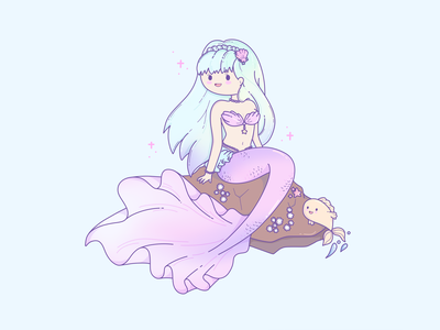 Mermay #2 mermaids ocean sea simple illustration flat design logo clean pastels cute artwork cute illustration cute art cute pastel mermaid mermay