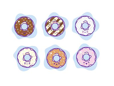 Cute Doughnut Icons doughnut icons doughnut logotype flat illustrator icon design kaomoji kawaii donuts icon set icon illustration icon artwork icon app logo clean design illustration vector