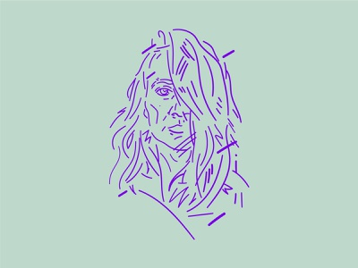 Green Purple girl face digital digital draw graphic czech portrait stylized flat minimal vector illustration