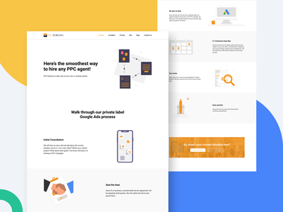 PPC Rockers — Process Page 🖱️ blue yellow 2020 figma layout process pay per click flat web design typography icon landing page ux ui illustration graphic design trend colorful branding minimal