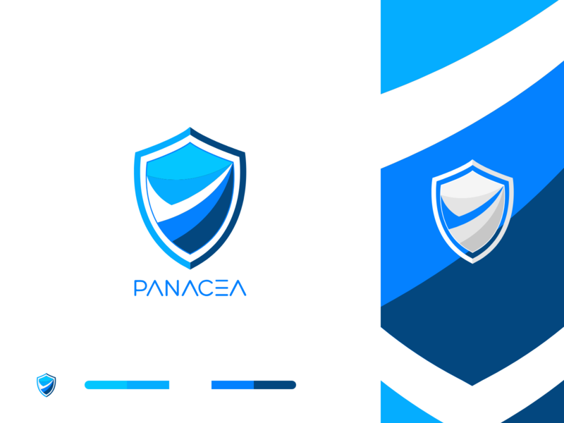 Panacea Logo | Information Technology Company creative typography app visual identity interaction security color palette illustration vector blue and white shield verify minimal minimalist logo graphic design logo design identity design brand design branding 2019