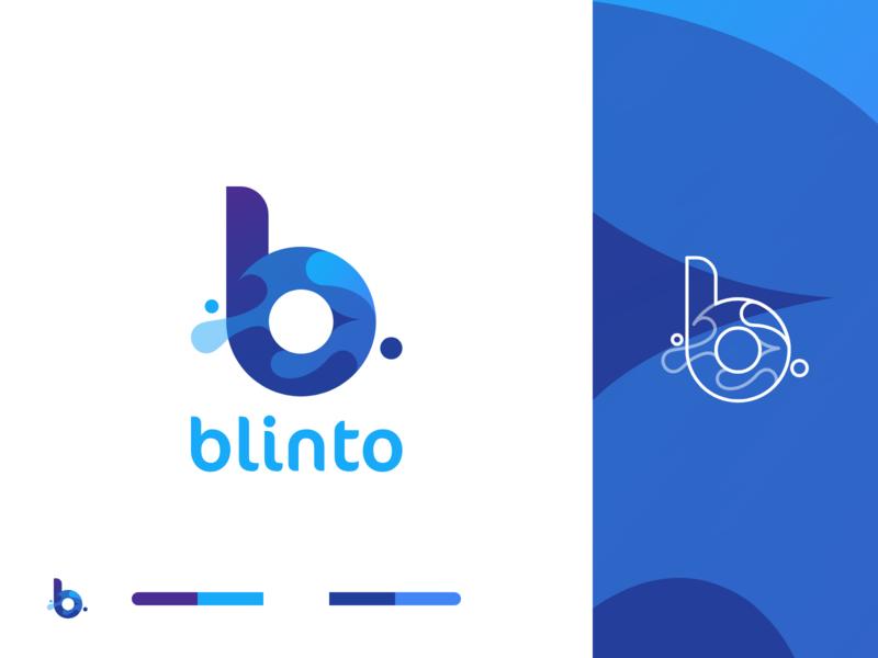 Blinto | Digital Branding Studio marketing agency wave bubble lettermark b blinto blue and white calligraphy identity symbol lettering illustration app icon typography vector logo minimal branding 2019
