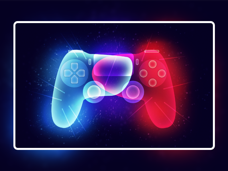 Fantasy Light | Gamepad landing page inspiration graphic design digital art sports football fifa trend ux ui red blue artwork game pad minimal ilya shapko play station colorful illustration 2019