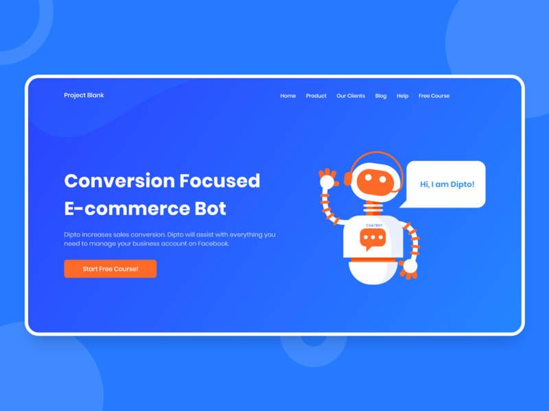 Project Blank | Chatbot Landing Page character flat website artificial intelligence adobe xd project ecommerce chatbot icon web design ux ui trend landing page graphic design colorful branding minimal illustration 2019
